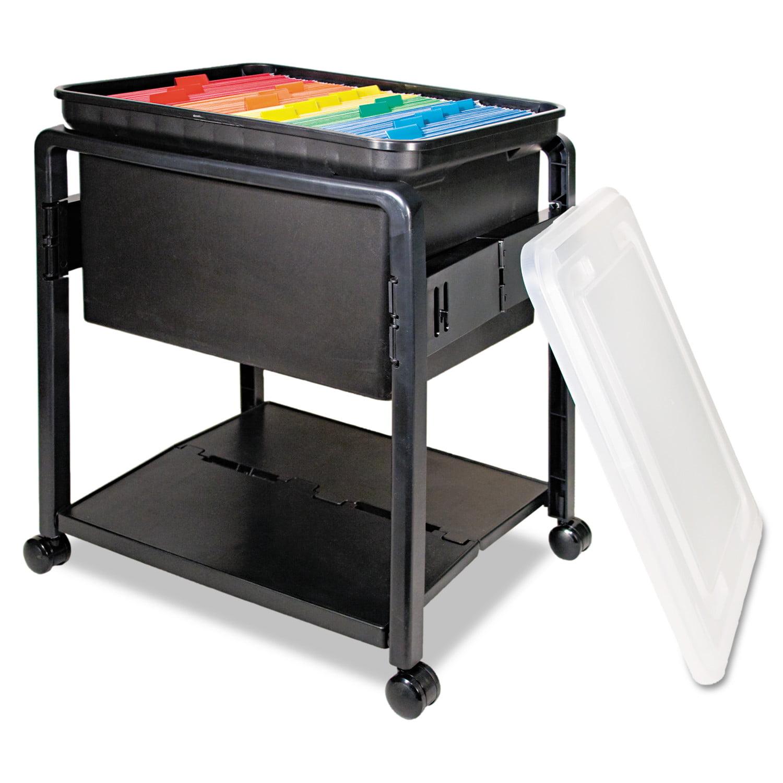 Advantus Folding Mobile File Cart, 14-1/2w x 18-1/2d x 21-3/4h, Clear/Black