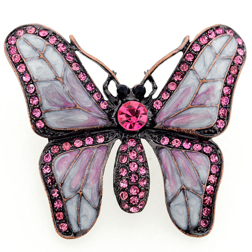 White Pink Butterfly Crystal Pin Brooch by