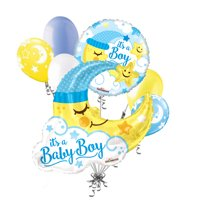 7 pc Baby Boy Jumbo Sleeping Moon Balloon Bouquet Party Decoration Welcome Home Star