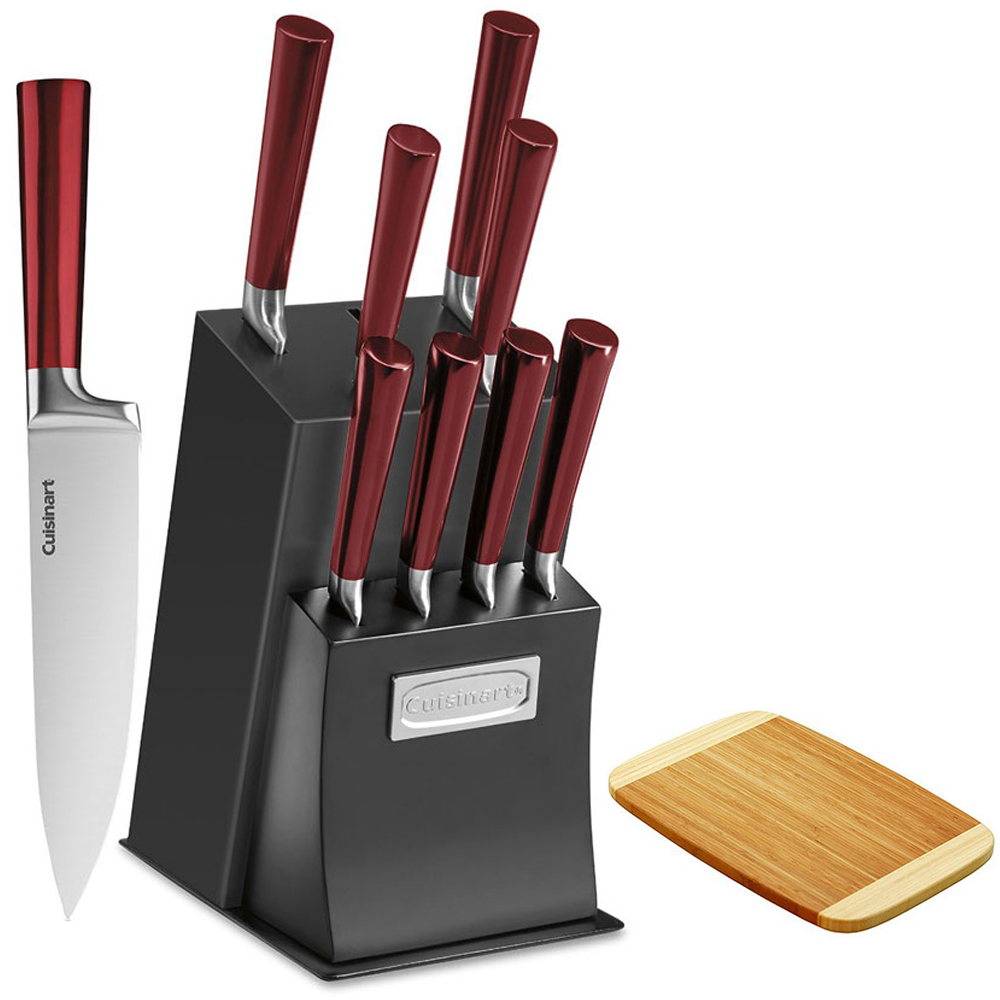 Cuisinart 11-Piece Vetrano Collection Cutlery Knife Block Set, Red (C77RB-11P) with Diamond Home Two Tone Bamboo Cutting Board 8 x 11.5