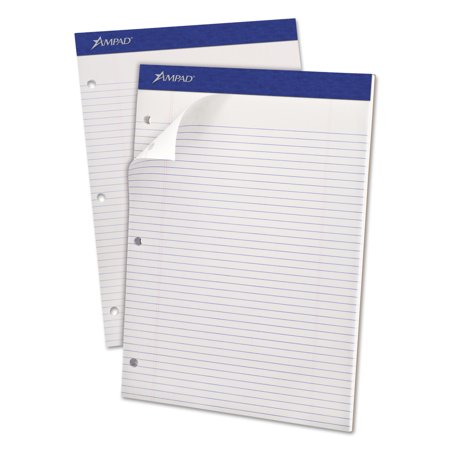 Ampad Double Sheets Pad, Narrow Rule, 8 1/2 x 11 3/4, White, 100 Sheets Ampad Heavyweight Writing Pad