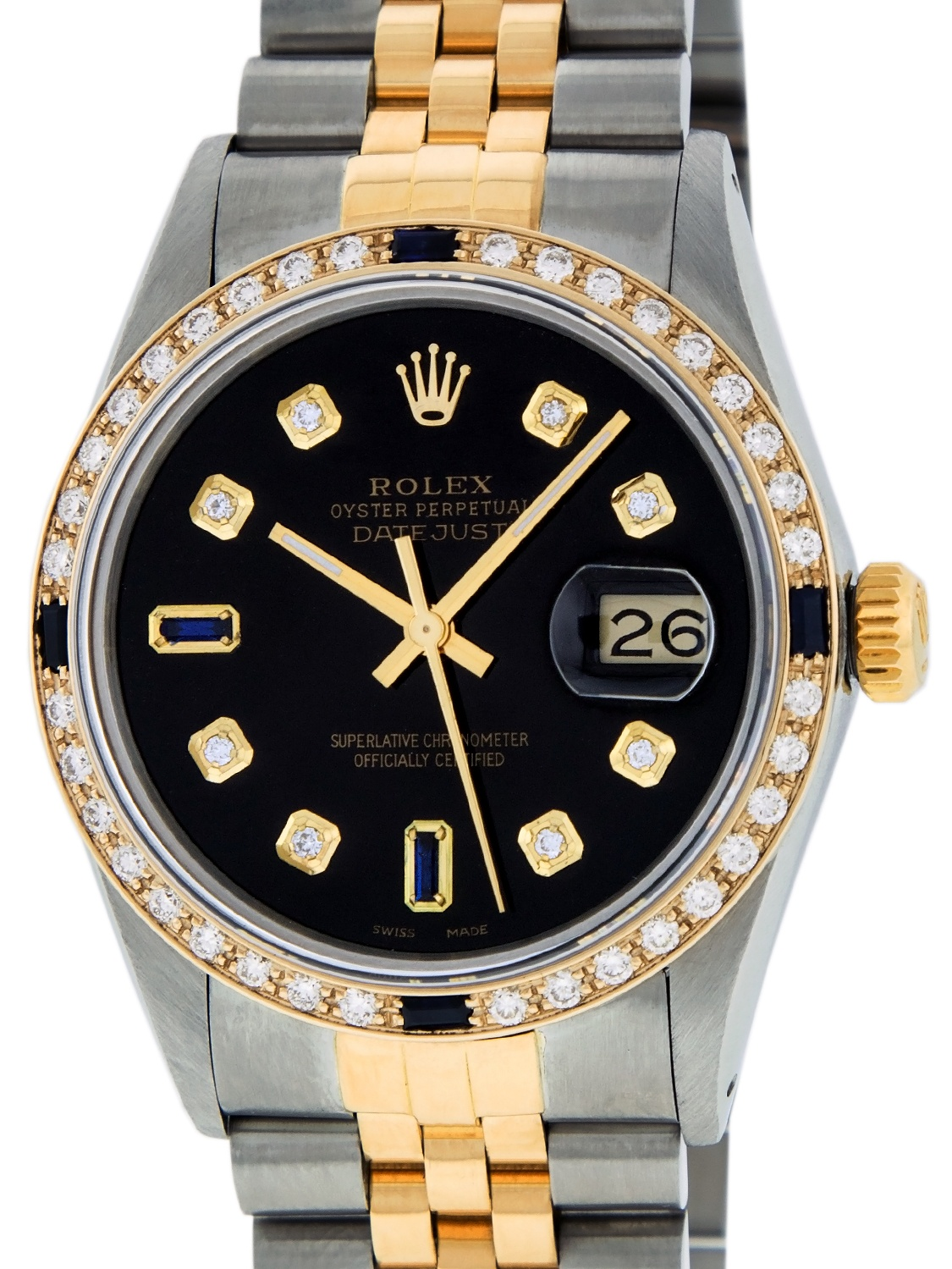 Used Rolex Mens Datejust Steel & 18K Yellow Gold Black Diamond & Sapphire Watch 16013 Jubilee by