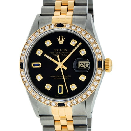 Pre-Owned Mens Datejust Steel & 18K Yellow Gold Black Diamond & Sapphire Watch 16013 (18k Solid Wrist Watch)