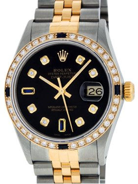 652d8f05591 Product Image Pre-Owned Mens Datejust Steel & 18K Yellow Gold Black Diamond  & Sapphire Watch 16013