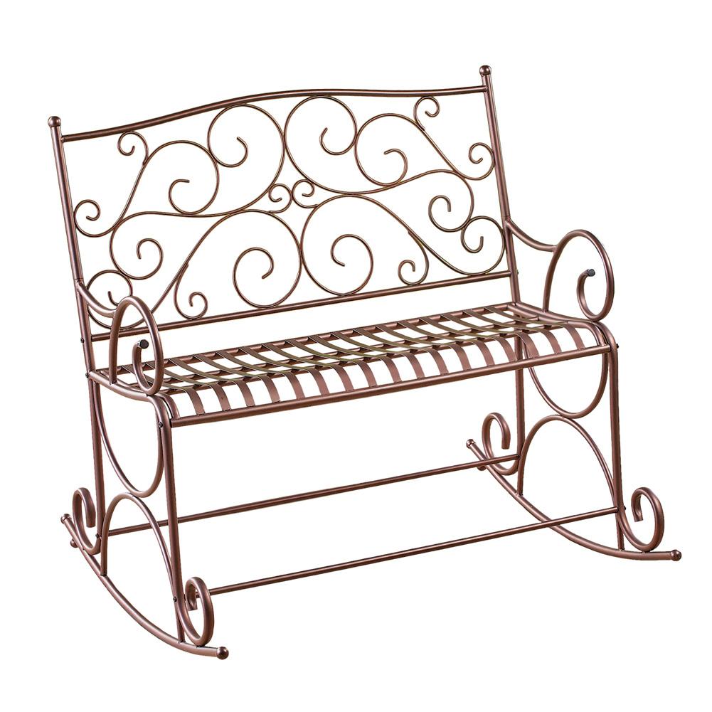 Outdoor Metal Scroll Double Rocking Chair Garden Bench Deck Glider