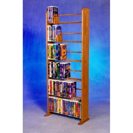 The Wood Shed Solid Oak 6 Row Dowel VHS Disney Clamshell Style Media Rack ()