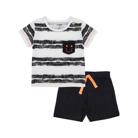 Knitted Baby Outfits - Striped Pocket Tee and Knit Shorts 2pc Outfit Set (Baby Boys)