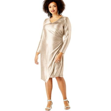 Roaman\'s Plus Size Metallic V-neck Dress With Side Ruching