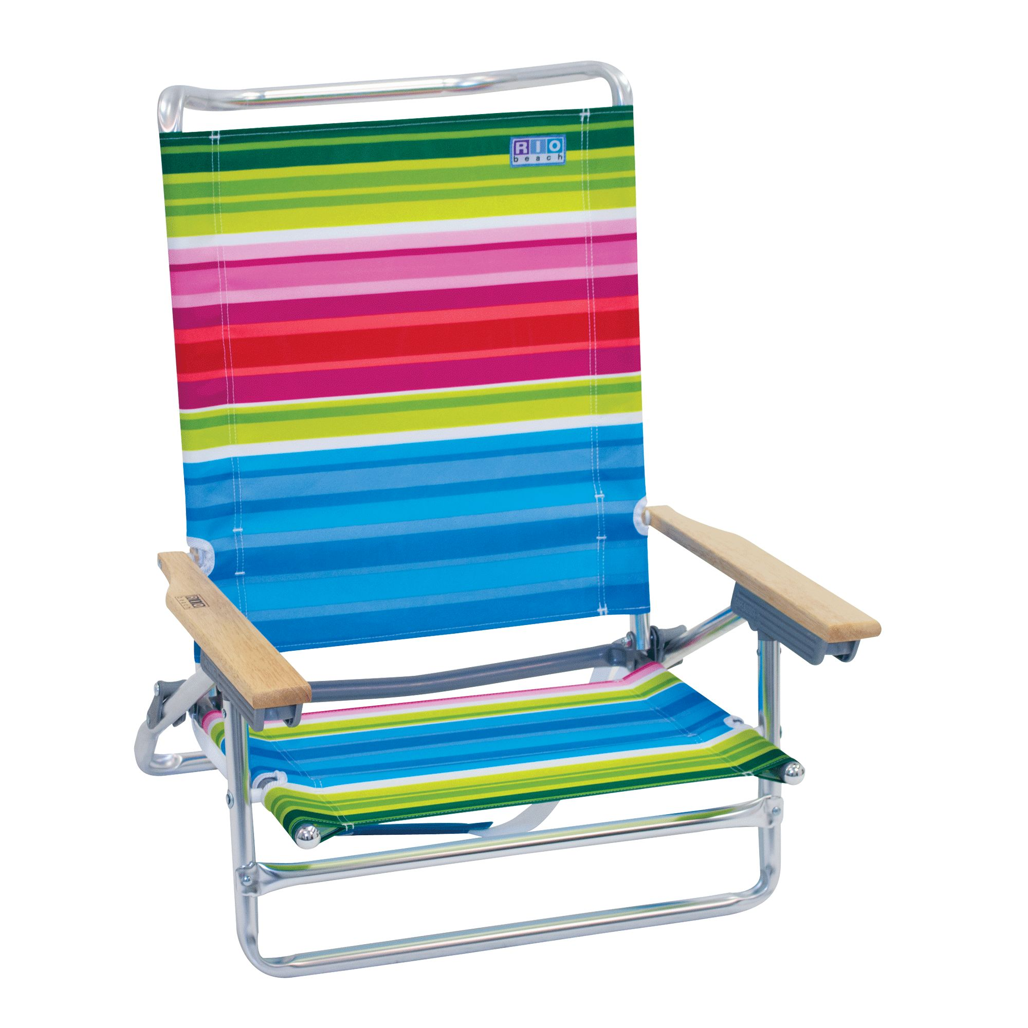 RIO Beach Classic 5-Position Lay Flat Beach Chair - Beach Club Stripes