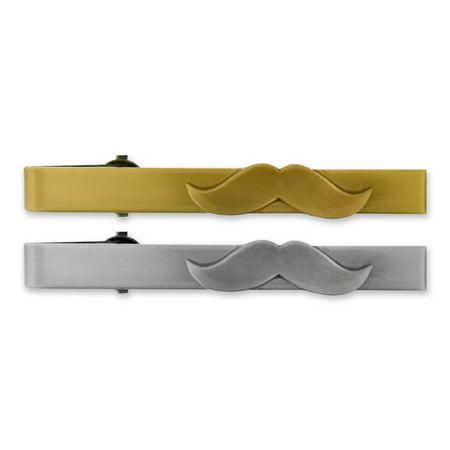 07d24eb54d6c PinMart - PinMart's Mustache Tie Clip Tie Bar - Antique Gold or Silver -  Walmart.com