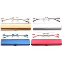 Newbee Fashion-Portable Compact Reading Glasses in Aluminum Case Metal Rectangle Rimless Reading Glasses Super Lightweight Reader Slim Design Comfort Fit 4 Pack Gold/Silver/Blue/Red 4.00