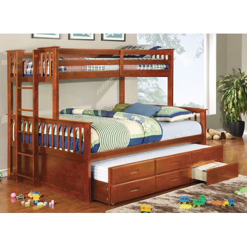 hokku designs emmerson twin over queen bunk bed - walmart