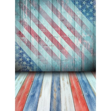 EREHome Polyester Fabric 5x7ft Photography Backgrounds Flag Independence Day Background with Wood Floor Backdrops - image 2 de 2