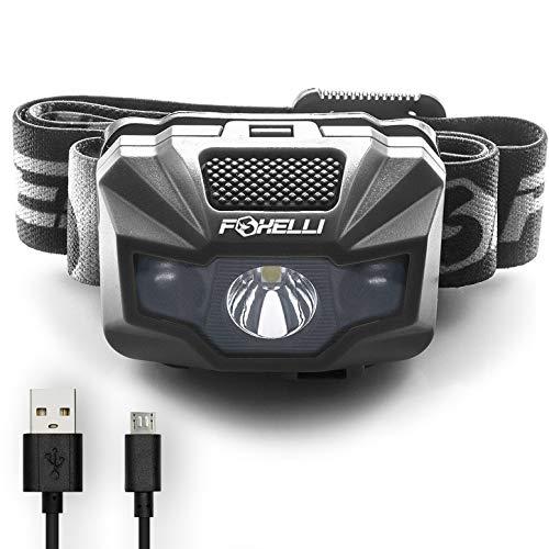 Foxelli USB Rechargeable Headlamp Flashlight 350 Lumen Lightweight /& Bright