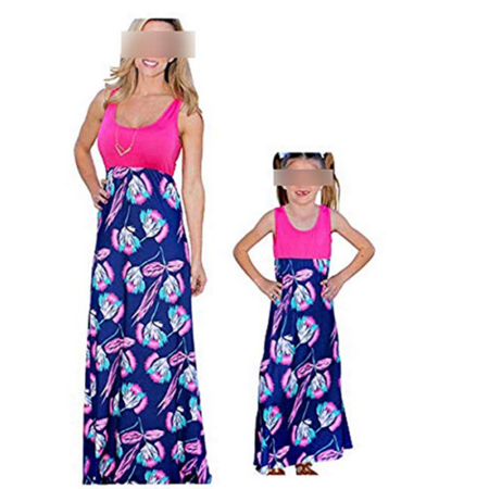 Mommy and Me Dresses Casual Floral Family Outfits Summer Matching Tank Maxi Long Dress (Floral Knit Tank Dress)