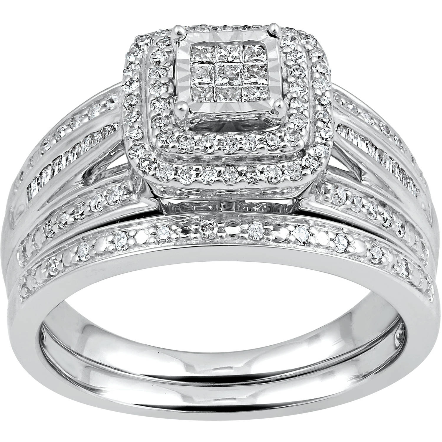 Forever Bride 1/2 Carat T.W. Diamond Princess Quad Sterling Silver Bridal Set