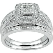 forever bride 12 carat tw diamond princess quad sterling silver bridal set - Wedding Rings Set