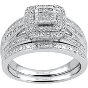 forever bride 12 carat tw diamond princess quad sterling silver bridal set - Walmart Wedding Ring Sets