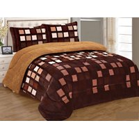LINEN PLUS 3 Piece Brown Squares King Size Warm Flannel Sherpa Borrego Blanket New
