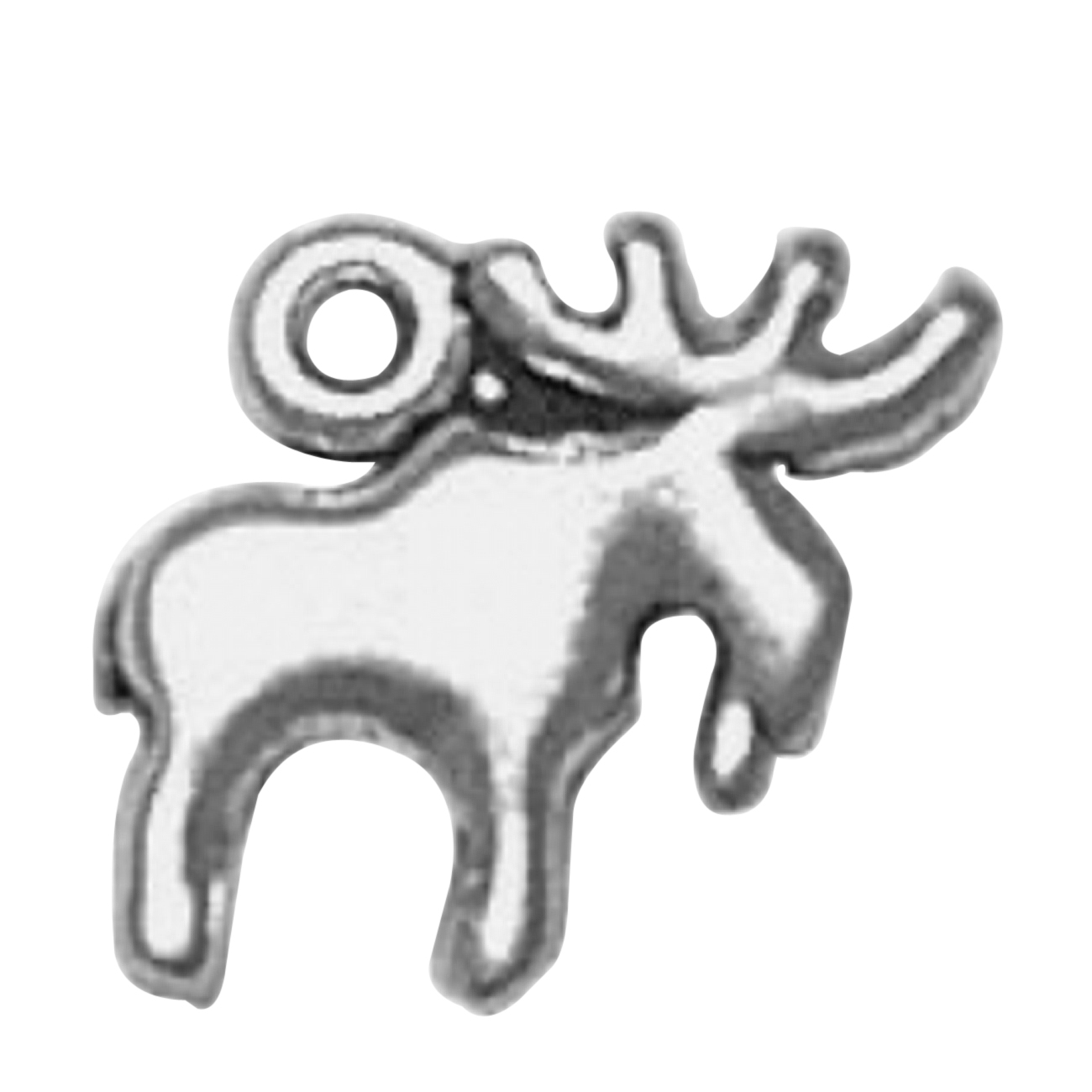 Sterling Silver Girls .8mm Box Chain 3D Large Detailed Moose Antlers Pendant Necklace