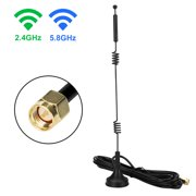 TSV Dual WiFi Antenna with SMA Male Connector, 2.4GHz 5.8GHz Dual Band Antenna Magnetic Base for WiFi Adapter, Rear View Camera, Reverse Camera, Backup Camera, FPV Goggles Video Headset Glasses, etc
