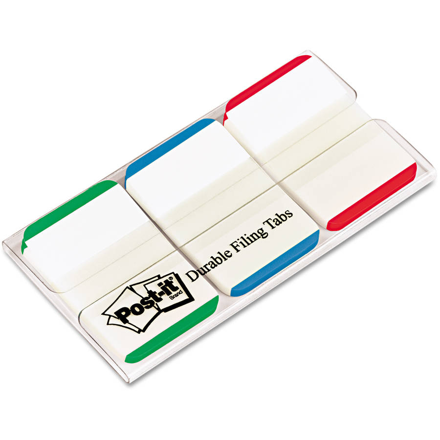 "Post-it Tabs Durable File Tabs, 1"" x 1-1/2"", Striped, Blue/Green/Red, 66/Pack"
