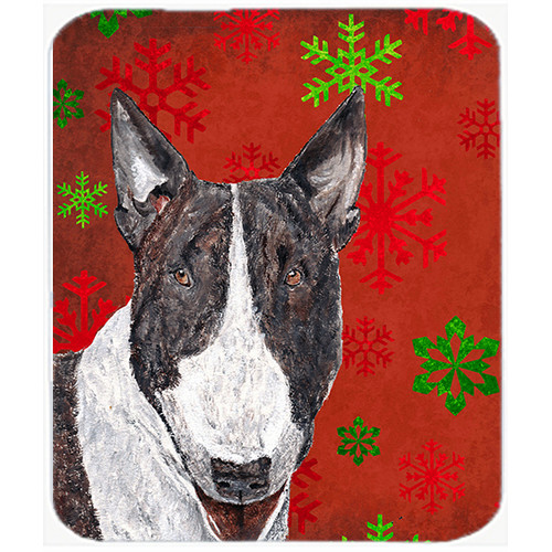 Caroline's Treasures Bull Terrier Snowflake Glass Cutting Board