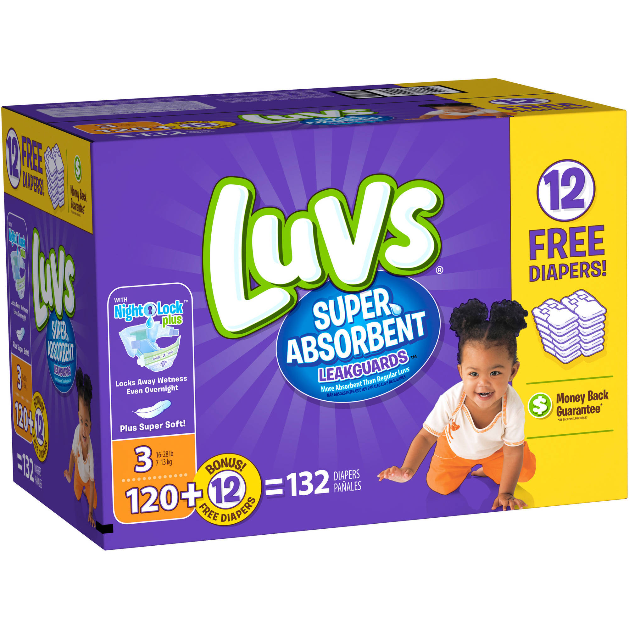 Luvs Super Absorbent Leakguards Diapers, Size 3, 132 count ...