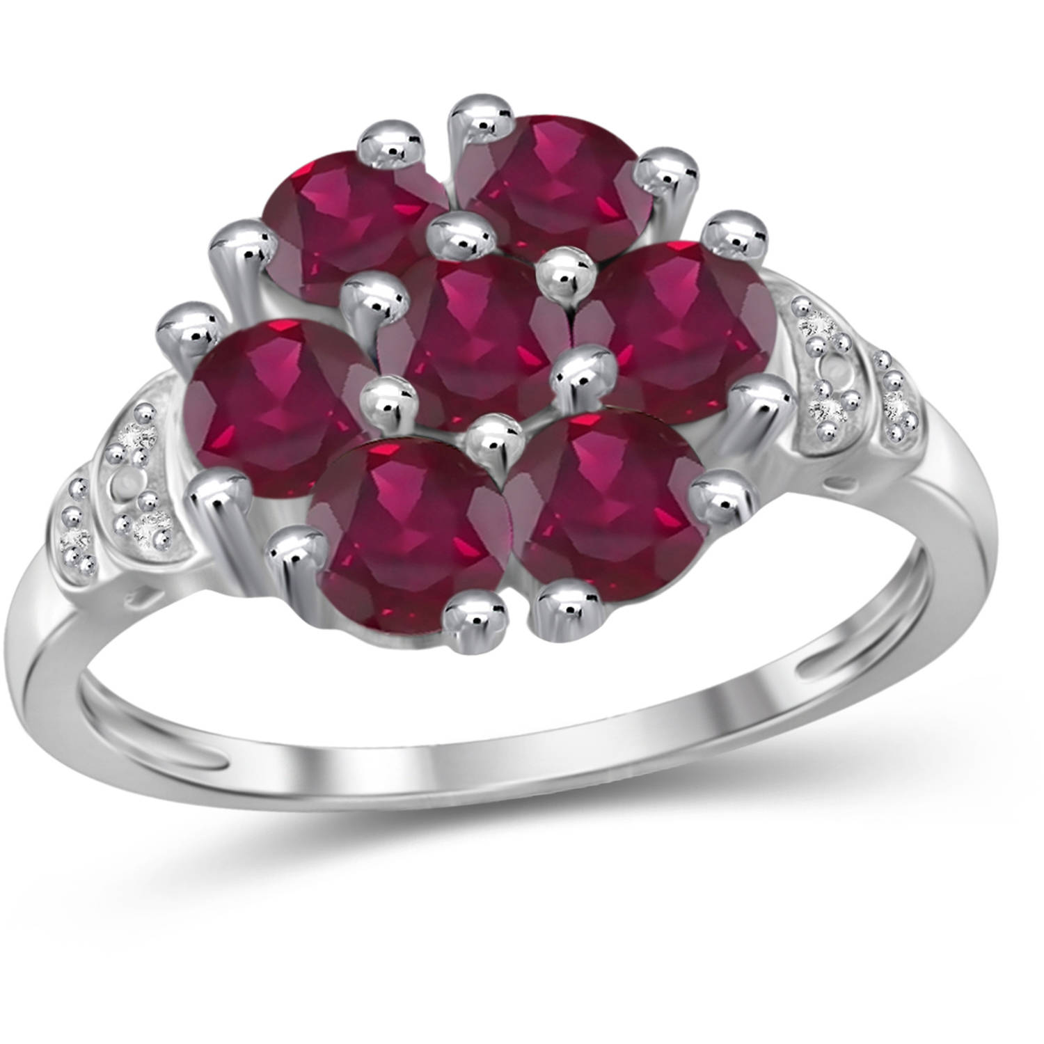 JewelersClub 2.31 Carat T.G.W. Ruby Gemstone And White Diamond Accent Sterling Silver Ring by JewelersClub