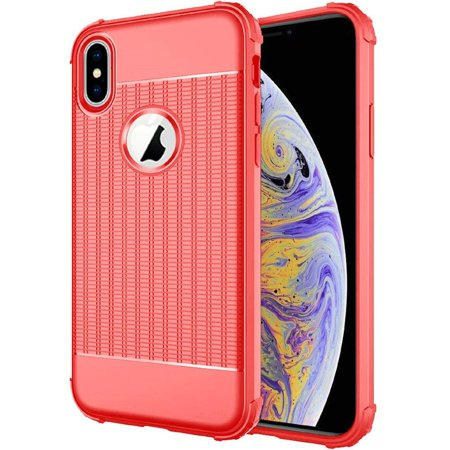 Apple iPhone XS Max Case, by Insten Non-Slip Textured Air-Cushion Hard Plastic/Soft TPU Rubber Dual Layer [Shock Absorbing] Hybrid Shockproof Case Cover For Apple iPhone XS