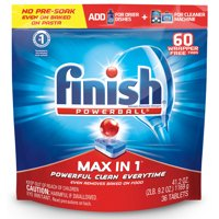 Finish Max in 1 Powerball 60ct, Wrapper Free Dishwasher Detergent Tablets