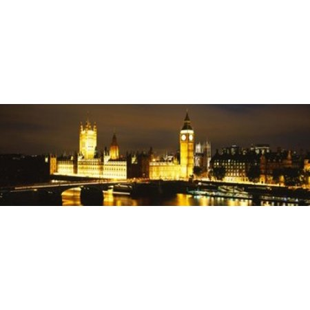 Buildings Lit Up At Night Westminster Bridge Big Ben Houses Of Parliament Westminster London England Poster Print