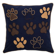 """Rizzy Home Decorative Poly Filled Throw Pillow Dog Paws 18""""X18"""" Brown"""