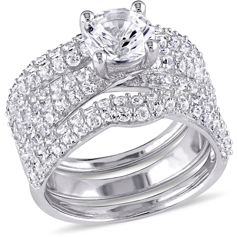 Miabella 4-1 5 Carat T.G.W. Created White Sapphire Sterling Silver Multi-Row Bridal Set by Miabella