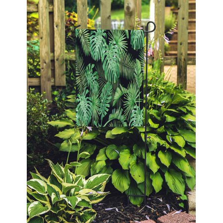 POGLIP Green Tropical Leaves on Dark Palm Trees and Monstera Watercolor Garden Flag Decorative Flag House Banner 28x40 inch - image 2 of 2