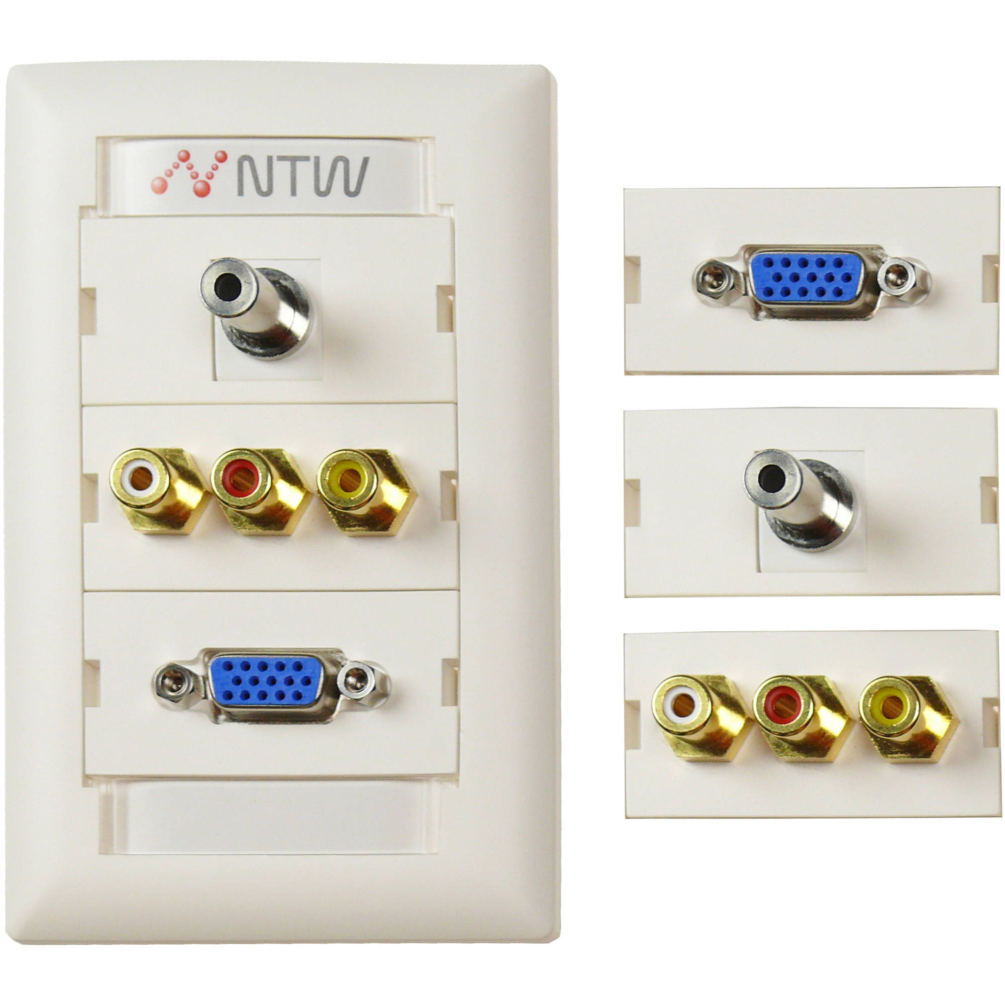 NTW Customizable UniMedia Wallplate and ID Tag with VGA, 3.5mm Audio, Composite Video and RCA Stereo Audio Pass-Through