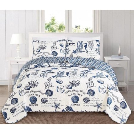 Blue Seashells, Starfish, Beach House, Nautical, Coastal King Quilt Set (3 Piece - Nautica Quilt
