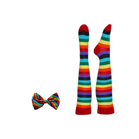 Rainbow Costume Bow Tie And Socks