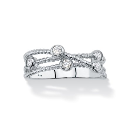 White Cubic Zirconia Multi-Band Crossover Ring in Sterling Silver (.25 TCW)