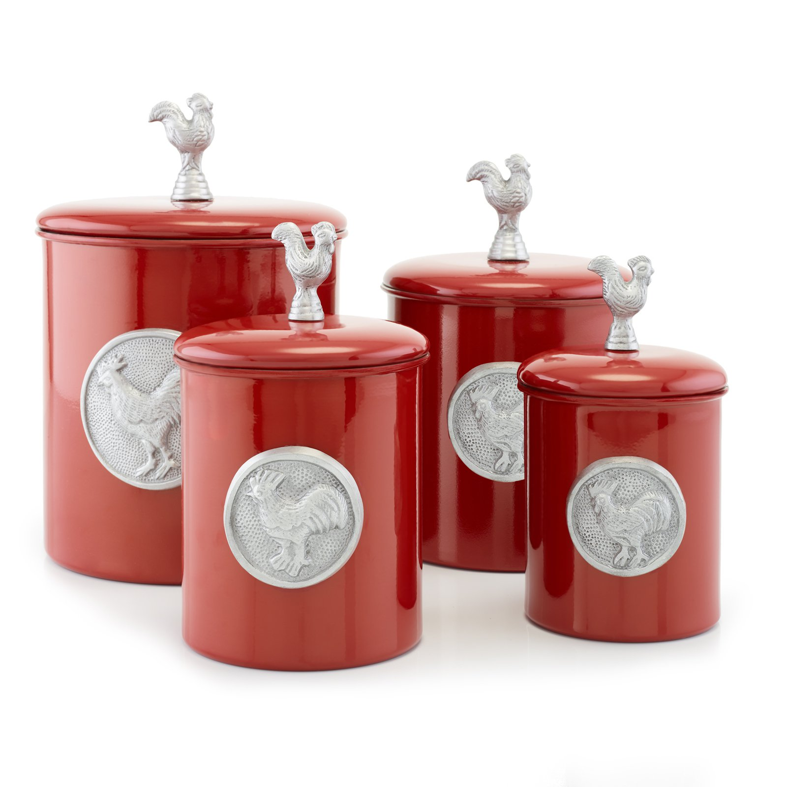 """4 Piece """"Red Rooster"""" Canister Set w/Rooster Medallion & Knob, Fresh Seal Covers - 4 Qt., 2 Qt., 1½ Qt., 1 Qt."""