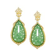 Green Quartz Flower Drop Earrings in 14kt Gold-Plated Sterling Silver