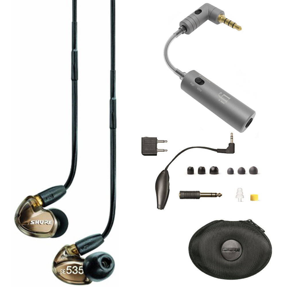 Shure Sound Isolating Triple Driver Earphone with Detachable Cable Bronze (SE535-V) with iFi Audio iEMATCH by Shure