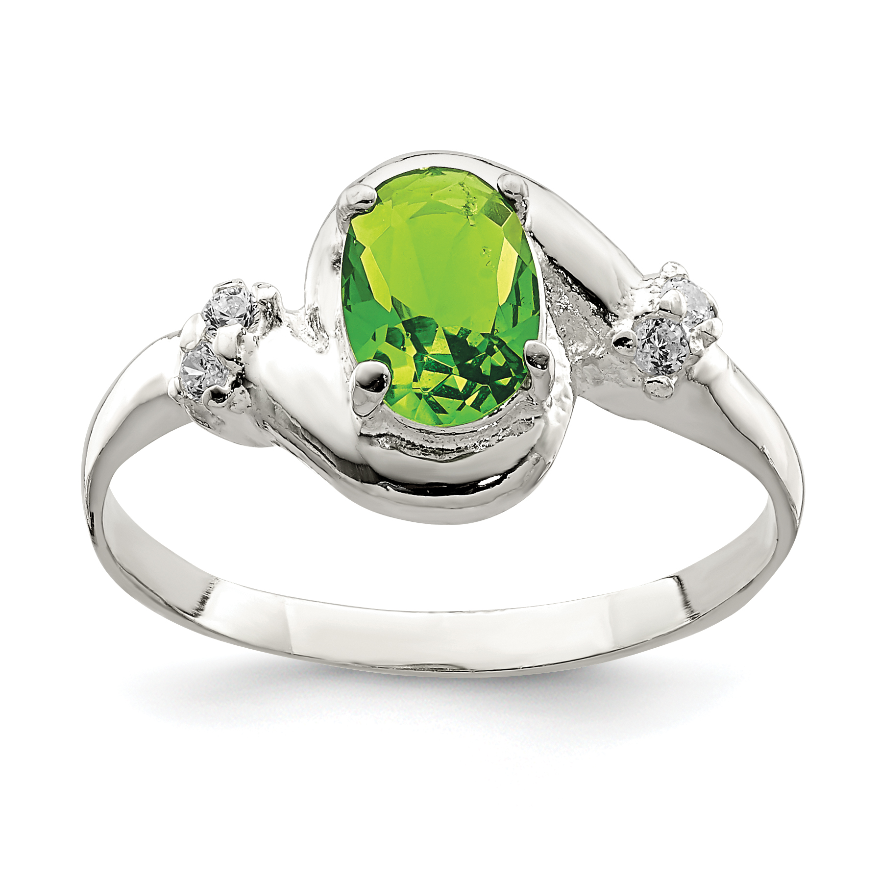 925 Sterling Silver Lime Green Oval Cubic Zirconia Cz Band Ring Size 6.00 Fine Jewelry Gifts For Women For Her - image 2 de 2