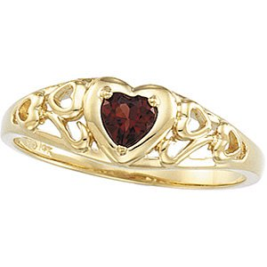 Jewels By Lux Mozambique Garnet Heart Design Ring Size 6 Design Garnet Ring