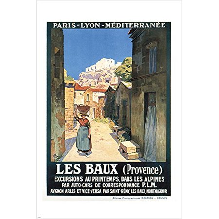 Vintage French Tourism Poster Les Baux (Provence) Charming Old Town