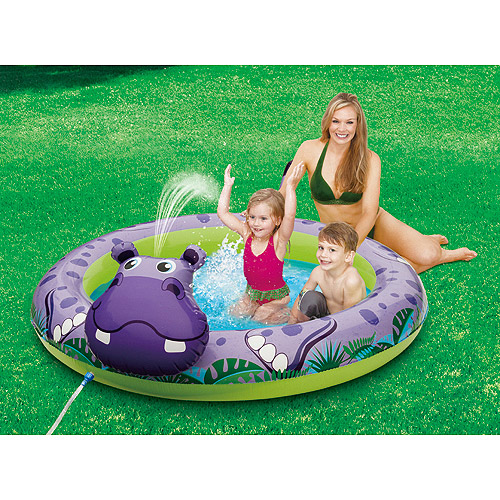 "6'2"" x 5'1"" Inflatable Hippo Play Swimming Pool"