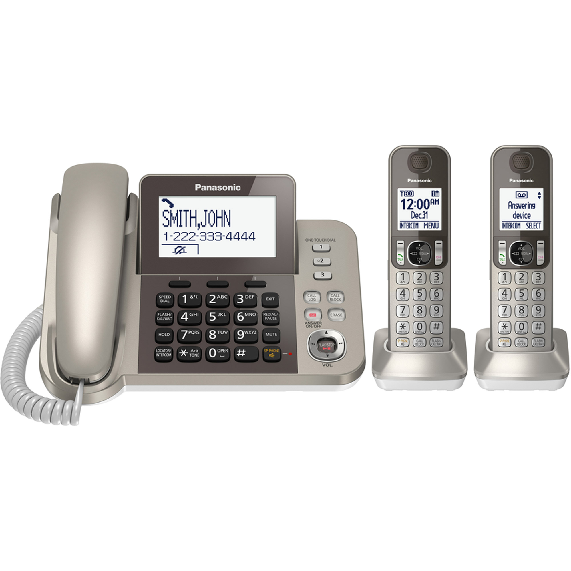 Panasonic Cordless Phone and Answering Machine with 2 Handsets by Panasonic