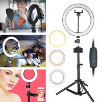 "10"" Ring Light with Tripod Stand, TSV LED Camera Selfie Circle Light with Phone Holder for Video Photography Makeup Live Streaming, Fit for iPhone 11/11 Pro/Pro Max Samsung Galaxy S10/9 Plus Huawei LG"