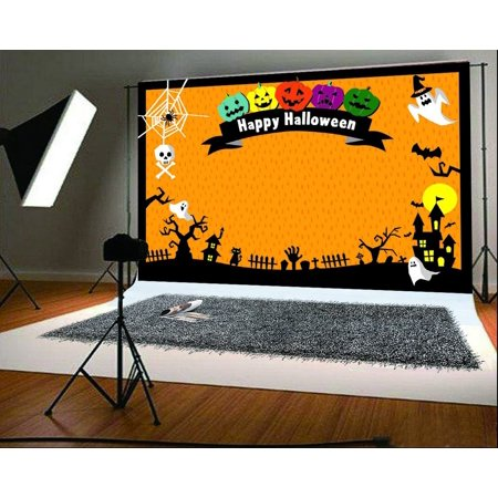 GreenDecor Polyester Fabric 7x5ft Cartoon Style Halloween Photo Background Pumpkin Face Backdrops for Photographer Photography Backdrops](Halloween Pumpkin Background)