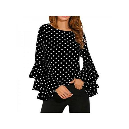 - MarinaVida Women Flare Long Sleeve Blouses Tops Polka Dot Loose T-Shirts